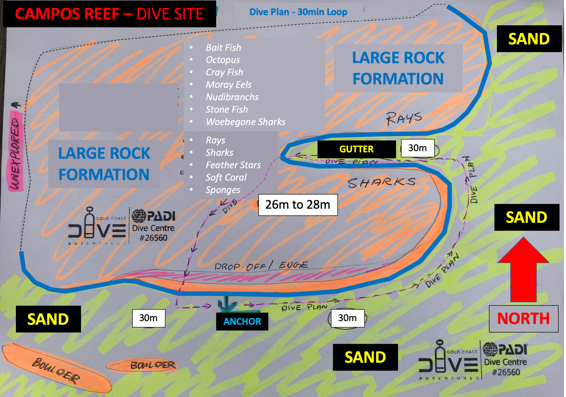 Campos Reef Dive Site Map